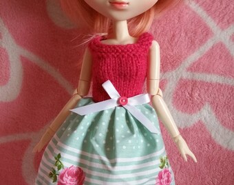 Wool Dress fabric Roses for pullip doll patterns