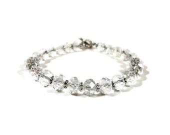 Clear Crystal Bracelet, Crystal Tennis Bracelet, Bridal Jewelry, Christmas Gift Idea, Women's Fancy Cocktail Jewelry, Clear Beaded Bracelet