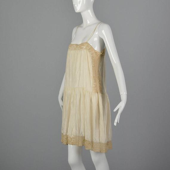 20s Style Silk Lace Lingerie Sleepwear Vintage Trim Loungewear 1920s Flapper Vintage Medium Slip Slip Cream Full 1P6fnnFw