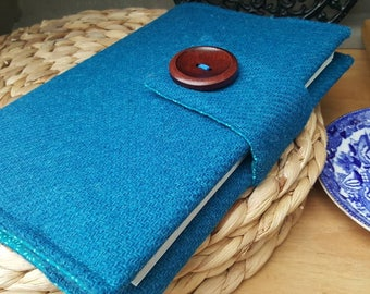 Harris Tweed removable book cover, teal, notebook sketchbook sleeve, journal cover, dust cover, handmade, book lovers gift, book accessories