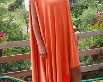 Asymmetric Orange Tunic Top / Oversize Summer Top / Extravagant Long Dress & Nara DT001