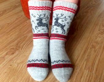 Gray wool socks with deers Knit warm wool socks Women and Men wool socks Christmas socks