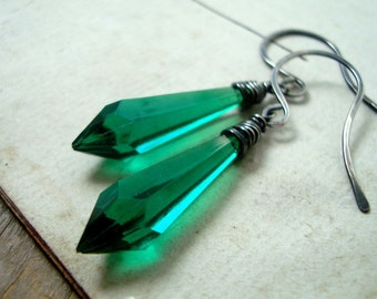 Emerald Dagger Earrings Vintage Lucite Sterling Wire Wrapped Modern Statement Jewelry Geometric Jewelry May Birthstone Gifts For Her