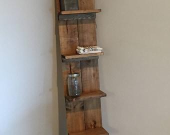 Barn style corner shelf
