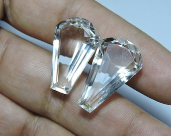 2 Pieces Extremely Beautiful Natural Rock Crystal Quartz Faceted Fancy Shaped Loose Gemstone Size 26X15 MM