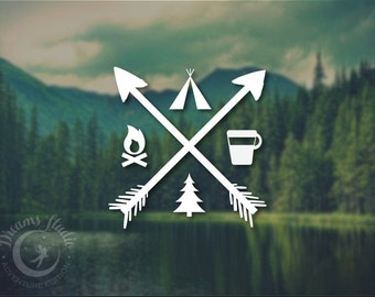 Wall Vinyl Decal for the adventerous with arrows, fire, pine tree, tent, coffee, great for your car or laptop