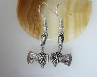 Silver Axe Earrings, Hatchet Tool, Unisex Jewelry, Men's Dangle Earrings