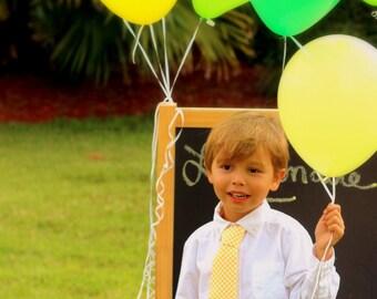 Boys Dot Yellow Necktie - white polka dot on golden neck tie - baby infant toddler child preteen little boy - birthday necktie - wedding tie
