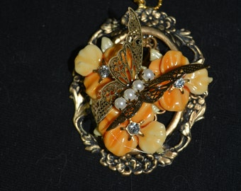 24 in chain necklace recycled orange yellow flowers rhinestones metal butterfly pearl beads oval frame