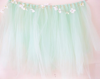 Mint Shabby Chic Backdrop Tulle Backdrop   Shabby Wedding Backdrop   Baby Shower Banner   Ribbon Garland   Photo Booth Backdrop
