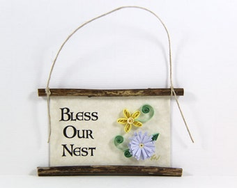 Paper Quilled Magnet  392 - Bless Our Nest, Home Blessing Sign, Quilled Ornament, 3D Paper Quilling, Housewarming Gift, Gift Basket Item