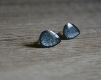 Stud Earrings Black Silver earrings drop cufflinks Black Silver drop earrings small ebony black