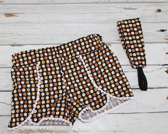 Little Girls Pom Pom Shorts, Girls Black/Orange/White Shorts, Halloween Shorts, Little Girls Shorts, Coachella Pom Pom Shorts