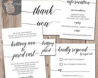 Classic Black & White Wedding Invitation Set, Clean Wedding Announcements, Wedding Invitations