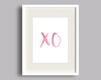 Pink XO Watercolor Printable | XO Print | Girly Gallery Wall Print | Girls Nursery Art