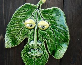 Fig Leaf Ceramic Mask-Green Leaf mask-Garden decor
