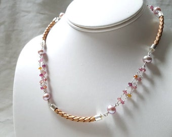 Modern Sterling Silver Gemstone Collar Necklace Tourmaline, Pearl, and Leather Multi Strand Station Chain Fine Jewelry Life Bijou
