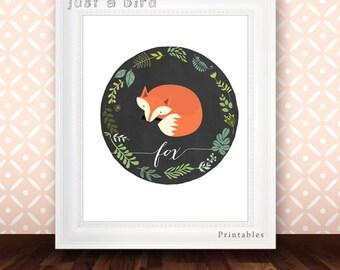 Fox wall decor, Nursery Decor, fox nursery print, autumn decor, fall decor, fox print, nursery decoration, fox art print - INSTANT DOWNLOAD