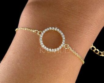 Dainty Swarovski Crystal Infinity Circle of Love Round Fine Cable Gold Tone Chain Bracelet Geometric Jewelry Best Friend Christmas Gift New