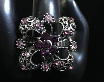 Vintage Purple Floral Rhinestone Adjustable Ring (ABX1B)