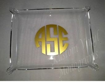 "Monogrammed Large Elegant Acrylic Tray / Personalized 10.5"" x 8.5""  Acrylic Tray / Pinched Corner Tray / Jewelry Tray / Perfume Tray / Gift"