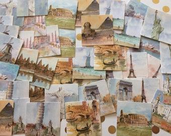 45 x travel world landmark stickers Statue of Liberty pyramids tower of Pisa scrapbooking card making adhesive diary journal planner