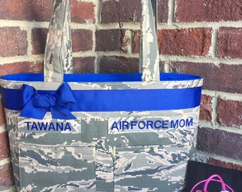 Double Pocket Tote- All Military Camo Types, Army, Air Force, Navy, Marines,Custom, Handmade, Bag, Purse, Tote, Ready to Ship, Free Shipping
