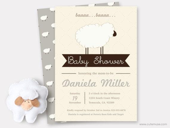 Gray sheep baby shower invitation printable sweet little lamb like this item filmwisefo Choice Image