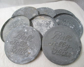 8 vtg metal lids, Ball Jelly Glass lids, primitive kitchen, steampunk supply, farm house find, repurpose or reuse, yard art part vtg kitchen