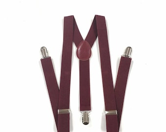 men's suspenders, burgundy suspenders, maroon suspenders, dark wine suspenders, for children and adults