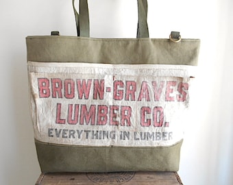 Military canvas, lumber apron carryall, large tote, beach bag - vtg Akron Ohio - eco vintage fabrics