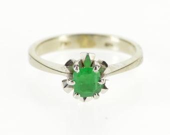 18K 0.30 Ct Square Emerald Retro Solitaire Scalloped Ring Size 5 White Gold