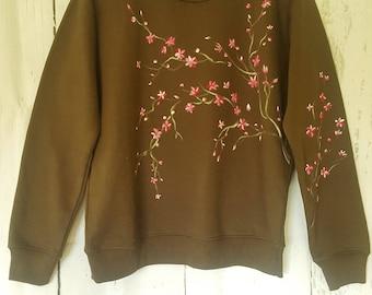 Hand painted Sweatshirt, Cherry Blossom, Painted Sweatshirt, Wearable Art, Flowery Clothes, Woman Sweatshirt, Size S