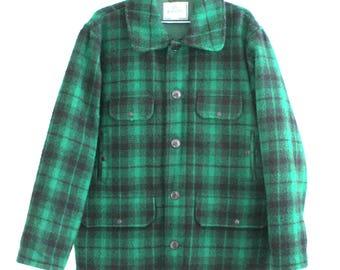 """Johnson Woolen Mills Green Black Plaid 100% WOOL Mens Hunting Coat Jacket L 50"""""""