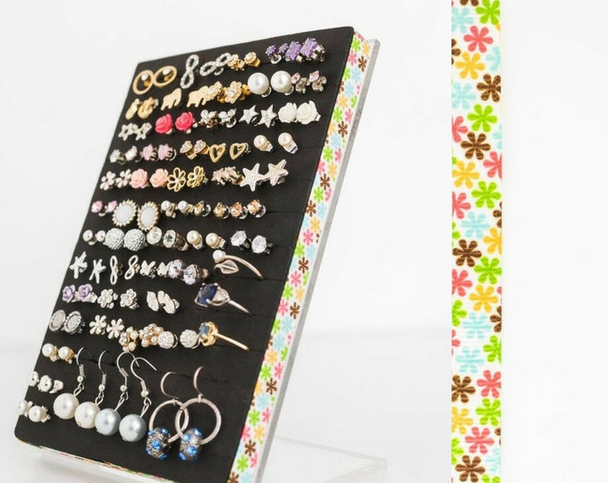 Earring Organizer - Tropical Floral Ribbon - Stud Earring Display