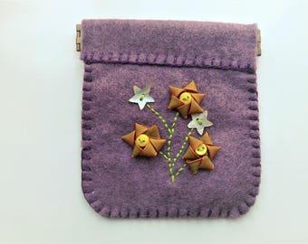 Royal Purple Felt Purse with Floral design