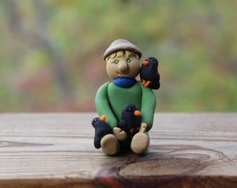 Scarecrow with Crows - Polymer Clay Scarecrow - Polymer Clay Figurine - Fall Decoration - Handmade Scarecrow Figurine - Crow Decoration