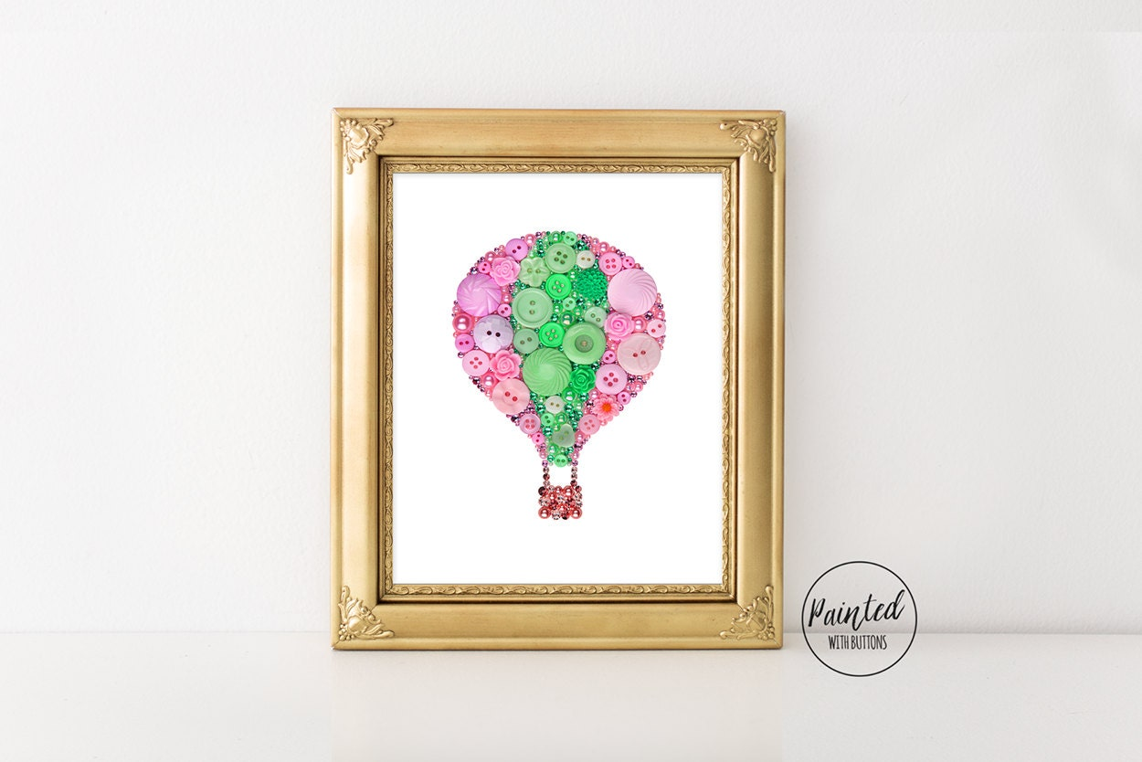 Button art print hot air balloon pink and green balloon wall zoom jeuxipadfo Images