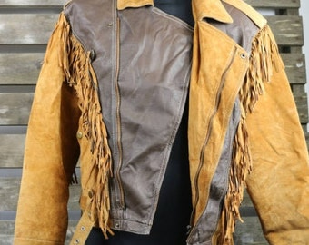 Vintage 1980's Tan (Womens/Mens) Fringe Leather And Suede Jacket / Motorcycle Jacket