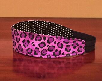 Boho Headband, Purple Headband, Clothing-Gift, Reversible Headband, Wide Headband, Black Womens Headband, Girls Headband, Leopard Headband