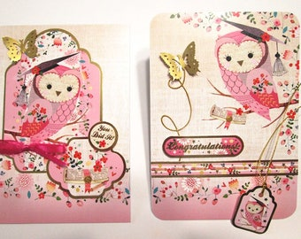 GRADUATION CARD for GIRL - A Wise Owl, grad cap and touches of gold foil, Congratulations cards, You Did It cards, hunkydory cards