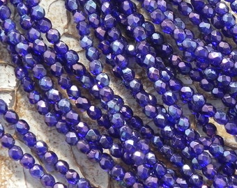 3mm Faceted Firepolished Round Beads - 50 pieces - 2438 - Cobalt Vega 3mm Round Beads