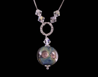 Murano Glass Necklace,  925 Sterling Silver, Venetian Jewelry,  Glass Jewelry, Swarovski crystals, Made in Italy
