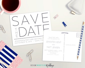 """Simple Black & White Save the Date Postcard // 4.25x5.5"""" // The Jennifer Collection // PRINTABLE"""