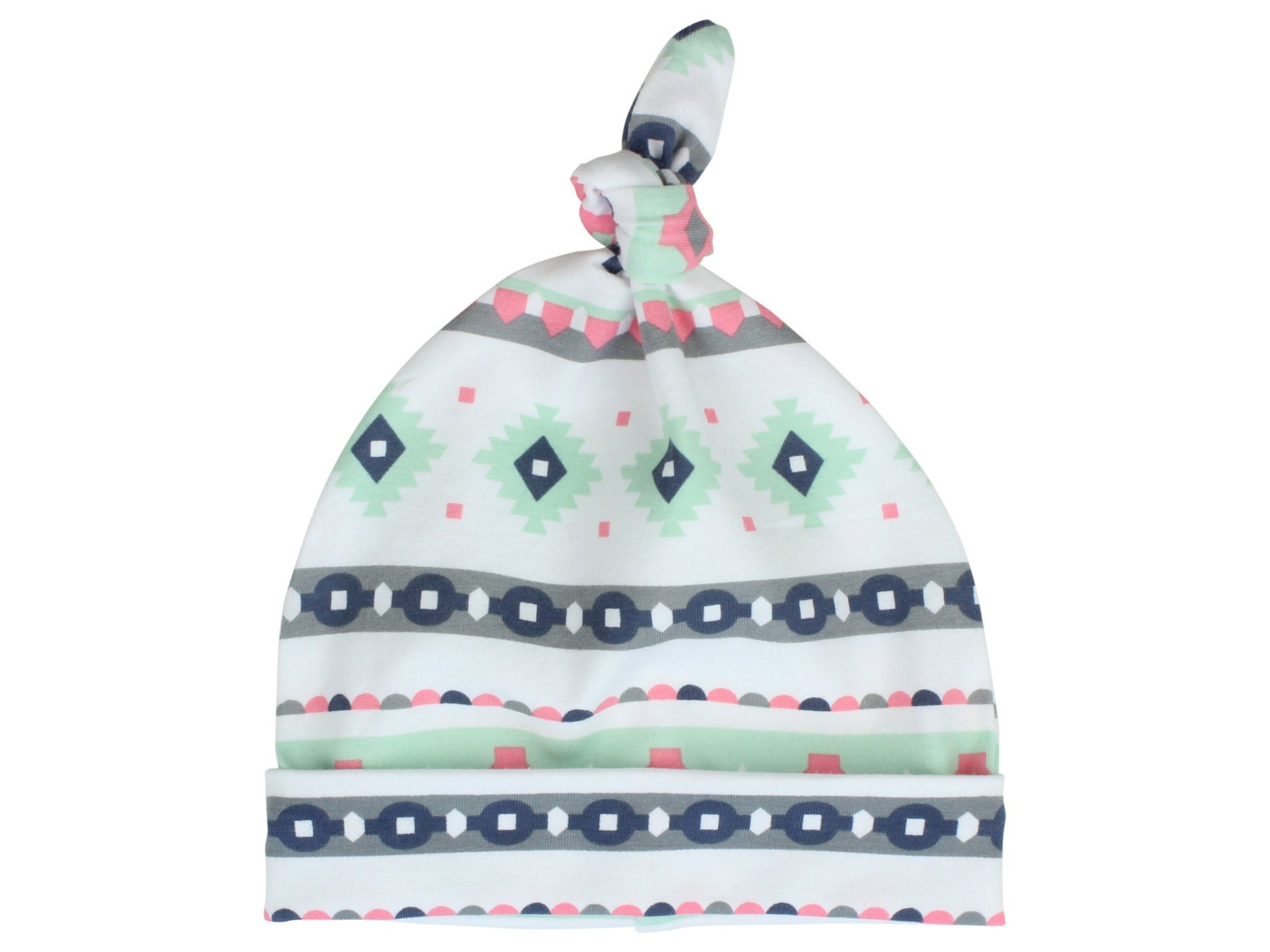 0724af2bdc6 Pink and Mint Tribal Baby Beanie Top Knot Hat Baby Newborn Top ...