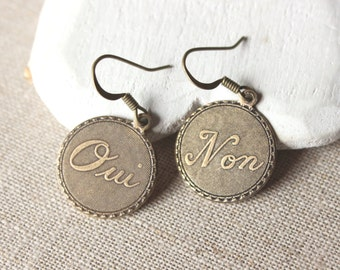 Yes and No Earrings, Oui Non dangle in Hooks or Clip Ons, Antiqued brass earrings, French Jewelry Boucle D'oreille lightweight E618