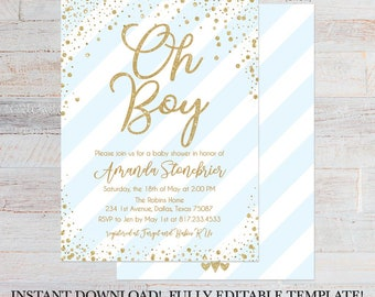 Blue Vertical Stripe Baby Shower Invite Printable, Editable Baby Shower Invitation, Editable Baby Shower Invite, Invitation Instant Download