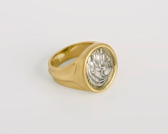 Men's Antique Coin Ring, Large Authentic Alexander the Great Greek Coin Ring, 18k Gold Ancient Coin Jewelry, Men Statement 10.5