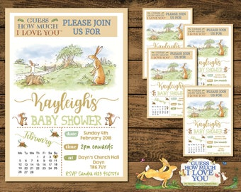 DIGITAL COPY Personalised Baby Shower Invites Guess How Much I Love You