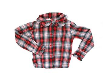 girls vintage blouse christmas plaid childrens 1980s ruffle shirt clothing size 3 4
